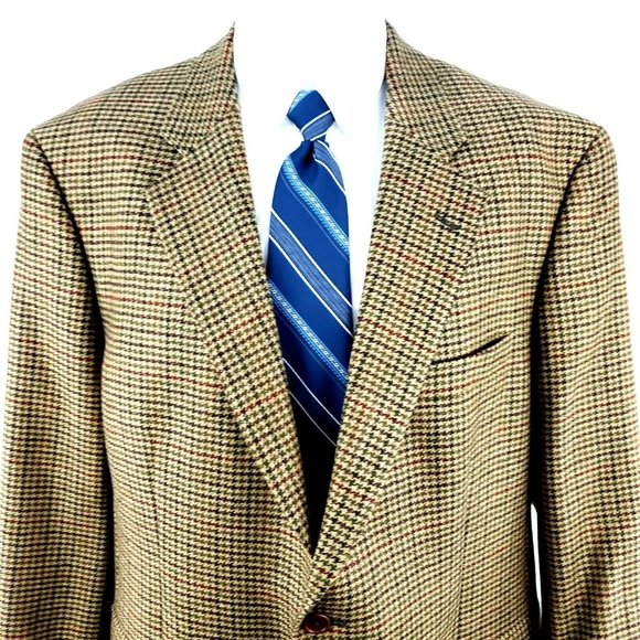 Brooks Brothers 346 46R 2 Button Tweed Wool Hounds